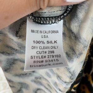 Trina Turk Tops - Trina Turk Short Sleeve Leopard Silk Top
